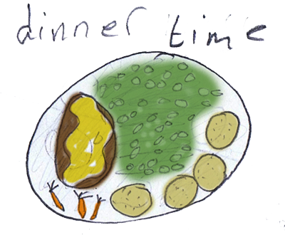 school dinners, a plate with peas and a jacket potato and carrots