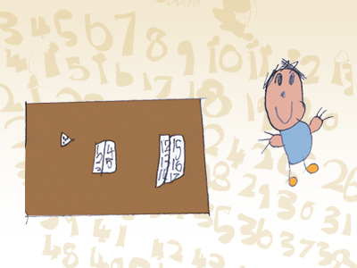 a boy sits next to a table with numbers in the background